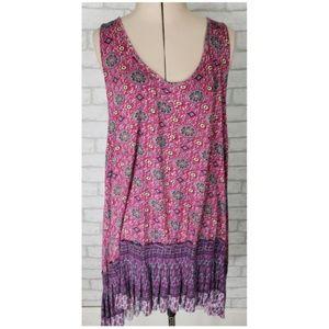Free People Boho Purple Sleeveless Tunic Dress Sm